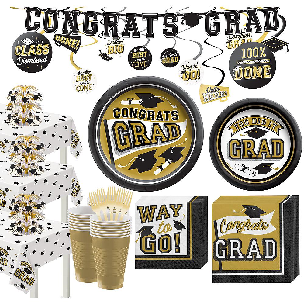 Super Congrats Grad Gold Graduation Party Kit for 54 Guests Image #1
