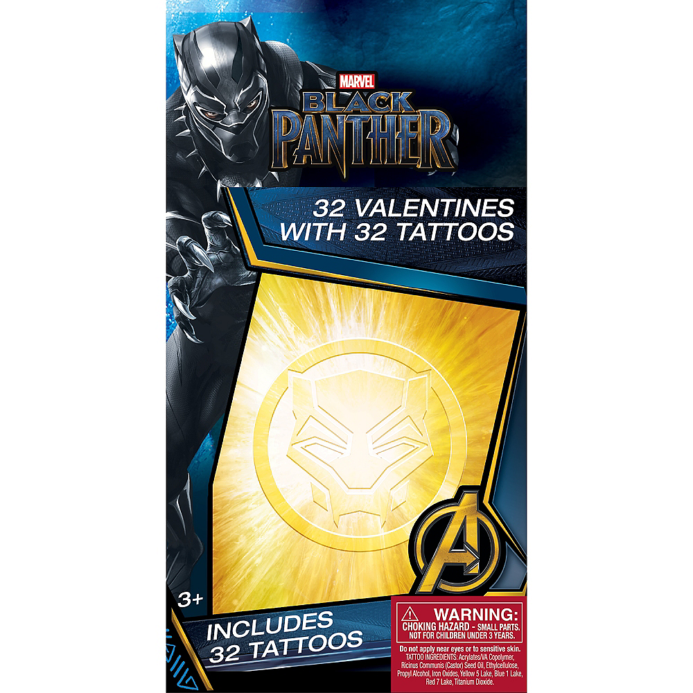 Black Panther Valentine Exchange Cards with Favors 32ct Image #1