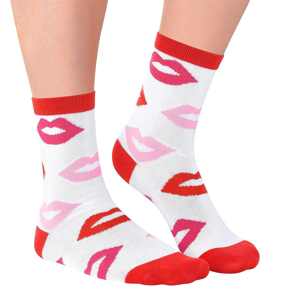 Adult Kiss Lips Crew Socks Image #1