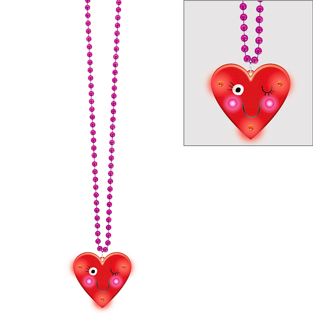 Light-Up Heart Face Necklace Image #1