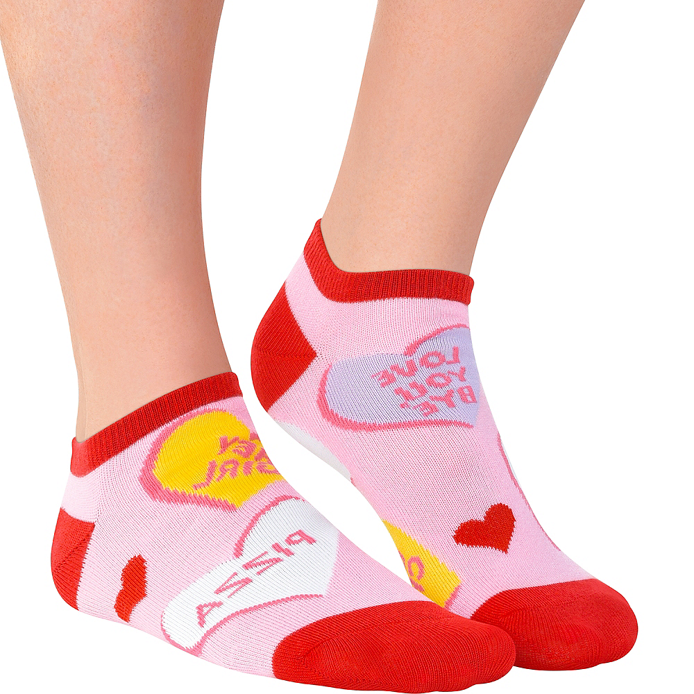 Adult Conversation Heart Ankle Socks Image #1