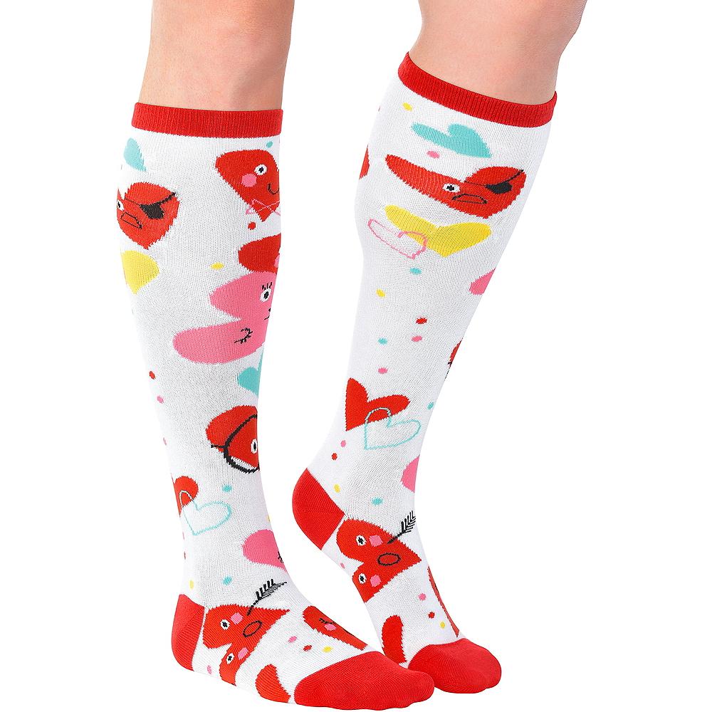 Adult Heart Face Knee-High Socks Image #1