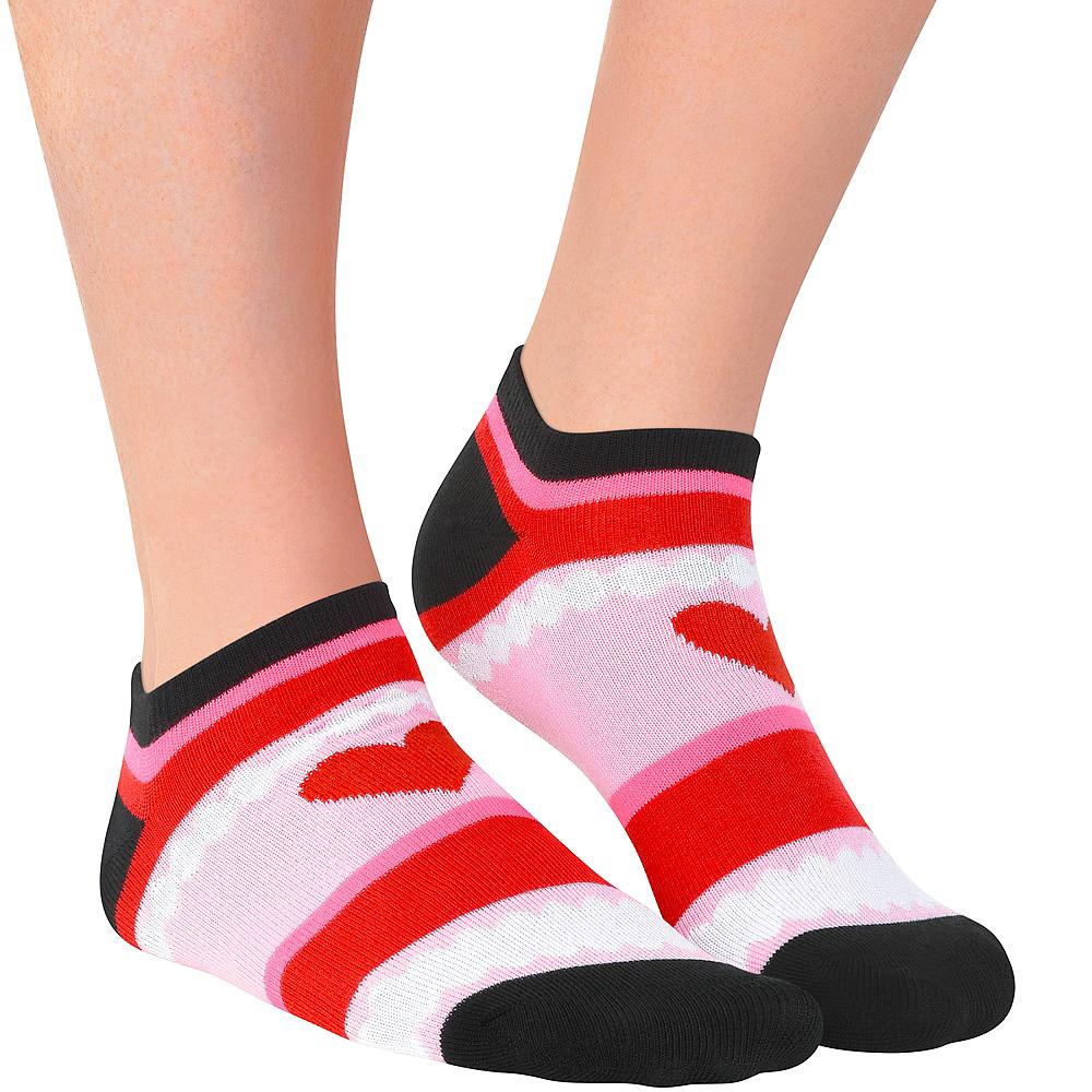Adult Hearts & Stripes Ankle Socks Image #1