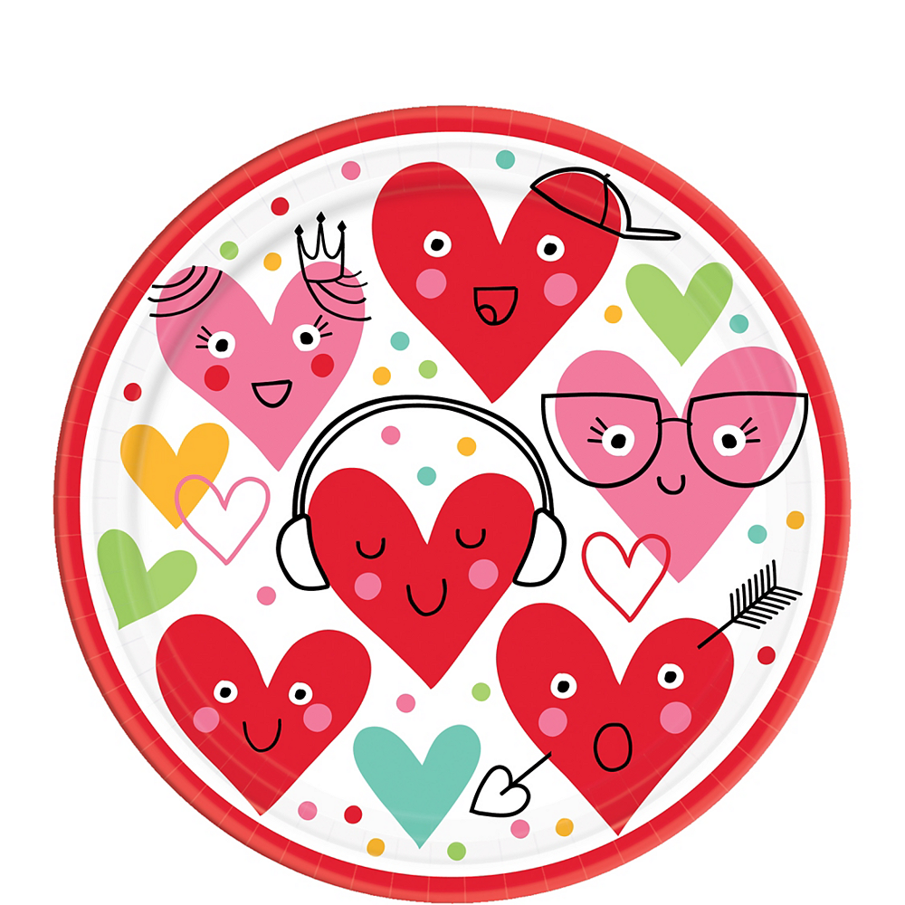 Heart Face Dessert Plates 18ct Image #1