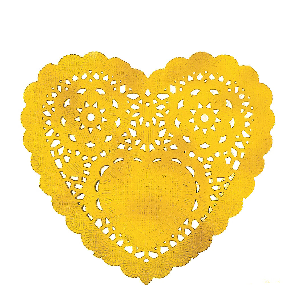 Gold Heart Doilies 10ct Image #1