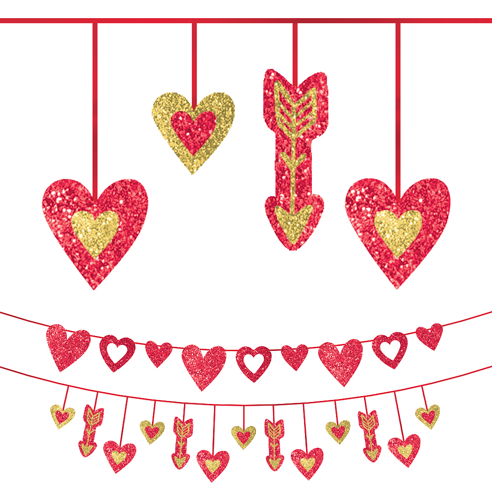 Glitter Valentine's Day Heart Banners 2pc Image #1