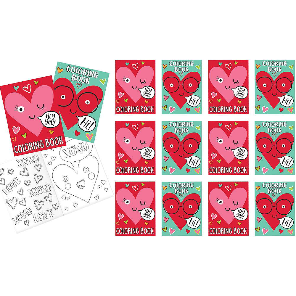Heart Face Valentine Coloring Books Exchange Cards 12ct | Party City ...