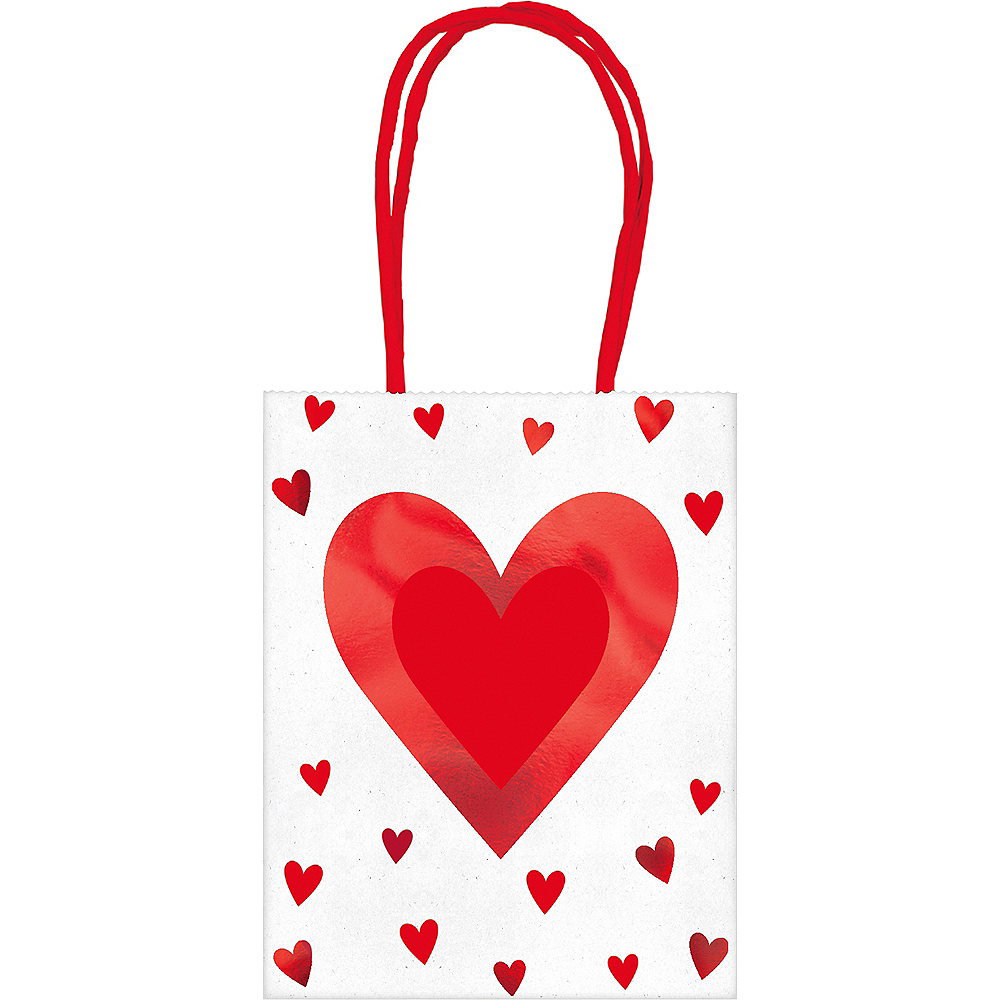 Metallic Hearts Gift Bags 6ct Image #1