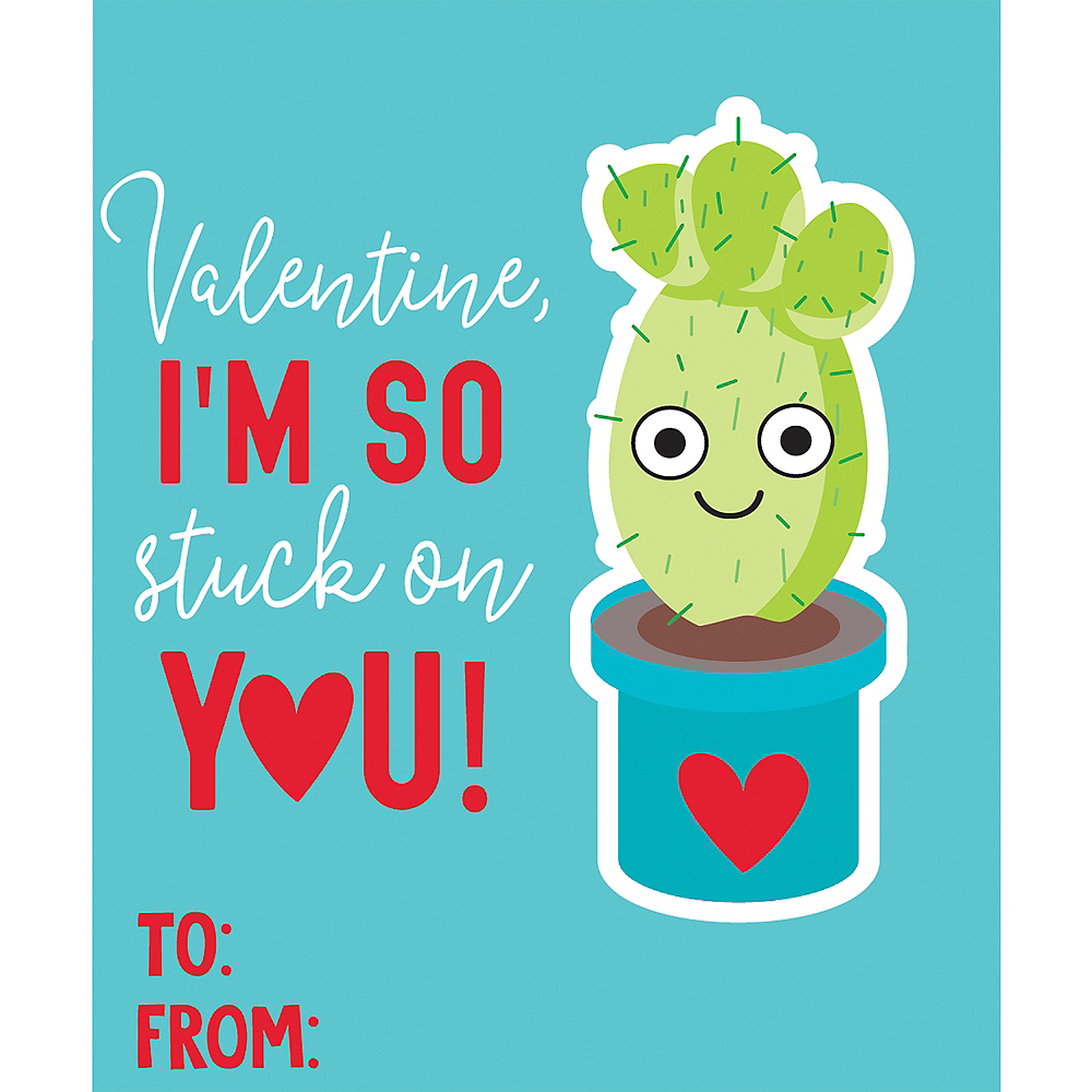 Cactus Valentine Exchange Cards with Favors 6ct Image #2