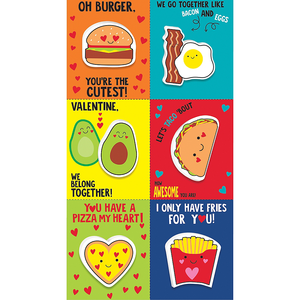 Food Valentine Exchange Cards with Favors 6ct Image #1