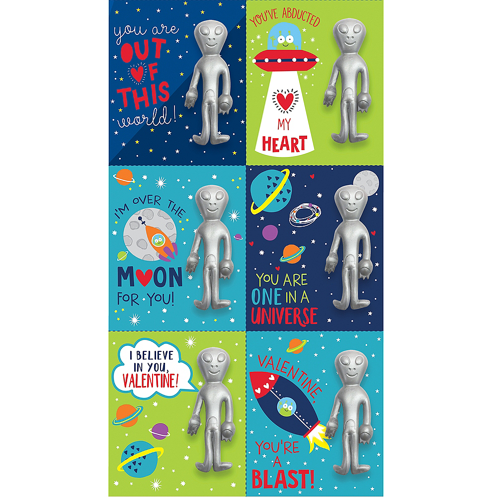 Alien Valentine Exchange Cards with Favors 6ct Image #1
