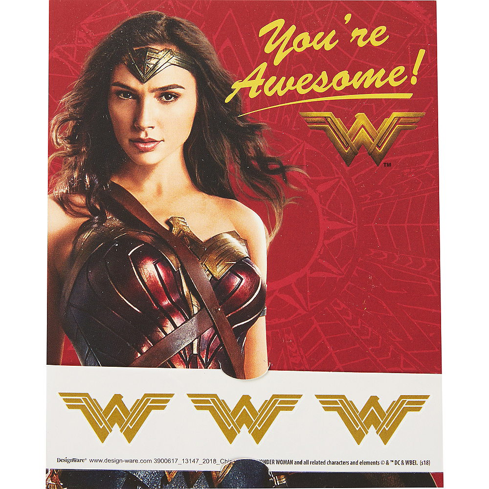 Wonder Woman Valentine Exchange Cards with Favors 12ct Image #2