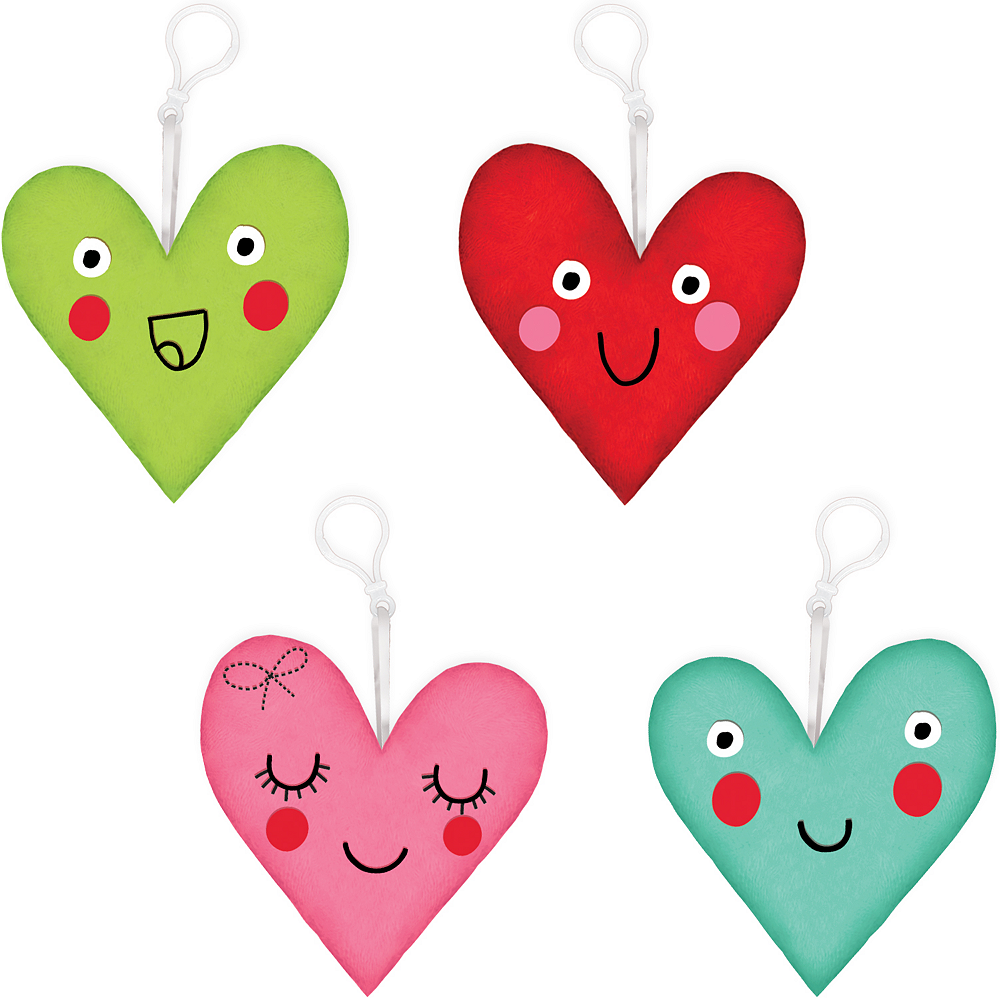 Clip-on Heart Face Plush 4ct Image #1