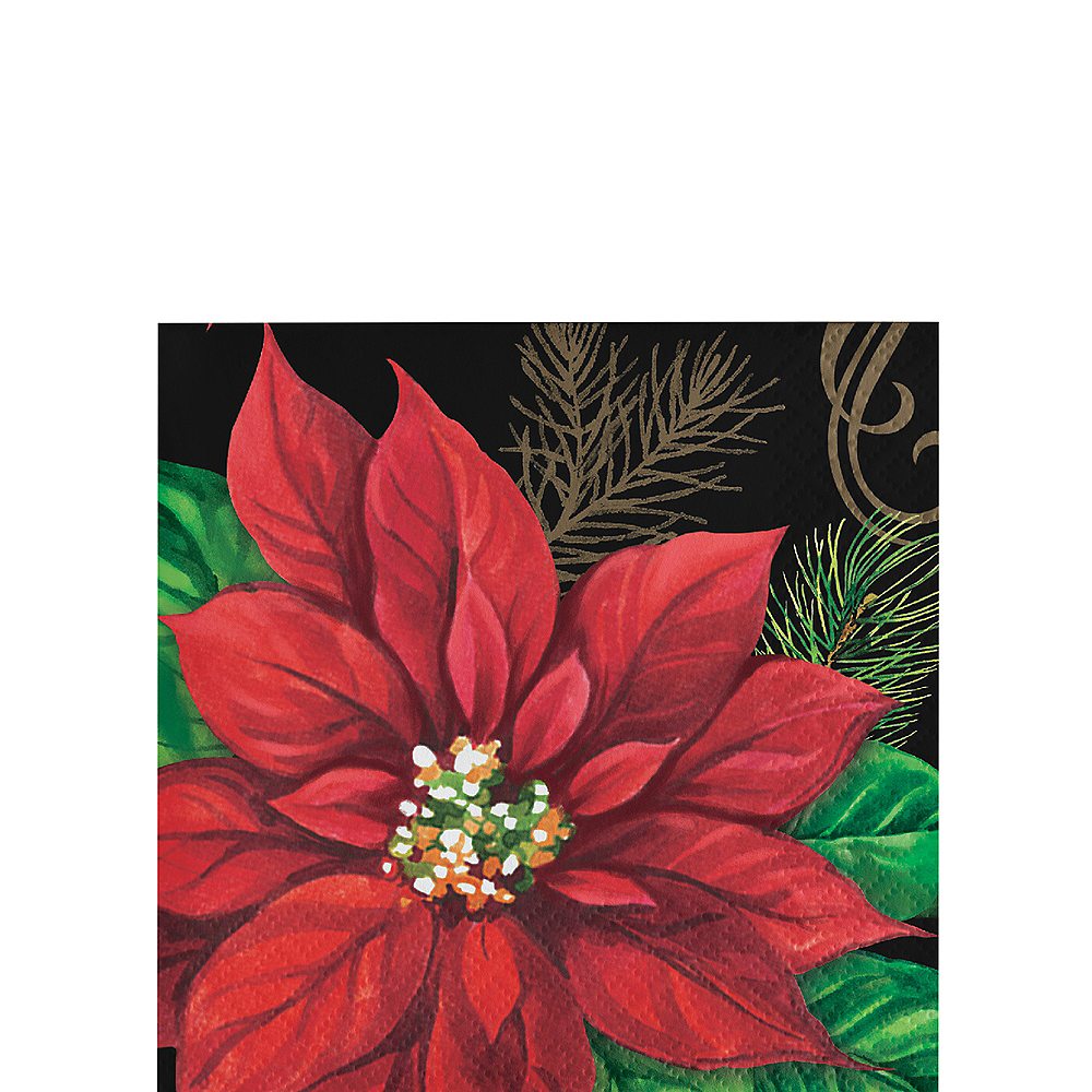 Posh Poinsettia Beverage Napkins 16ct Image #1