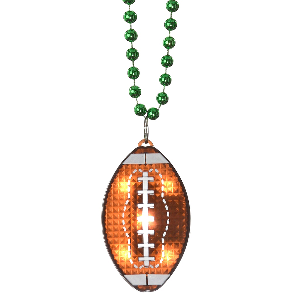 Light-Up Football Pendant Bead Necklace Image #1