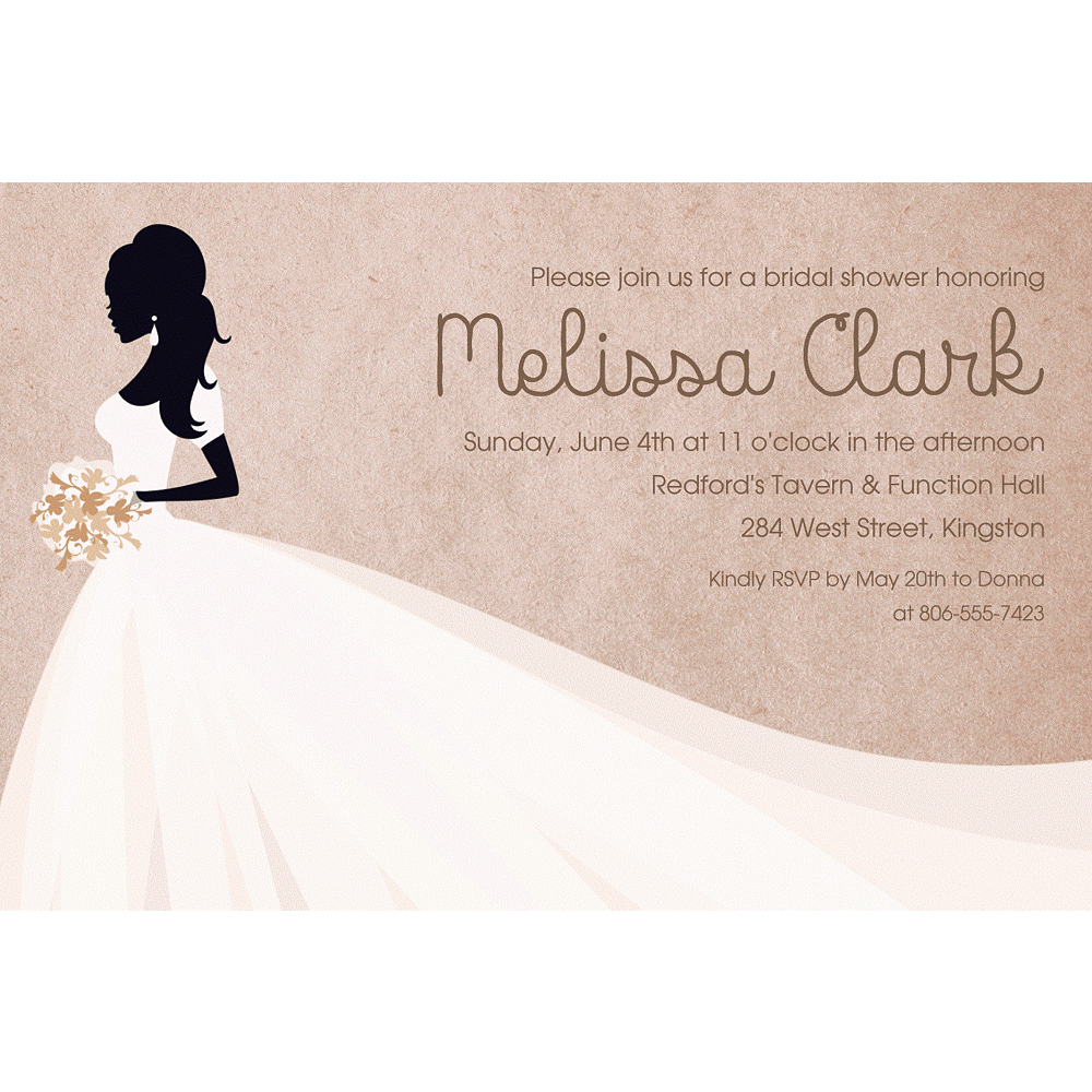 Nav Item for Custom Bride Silhouette with Train Invitations Image #1