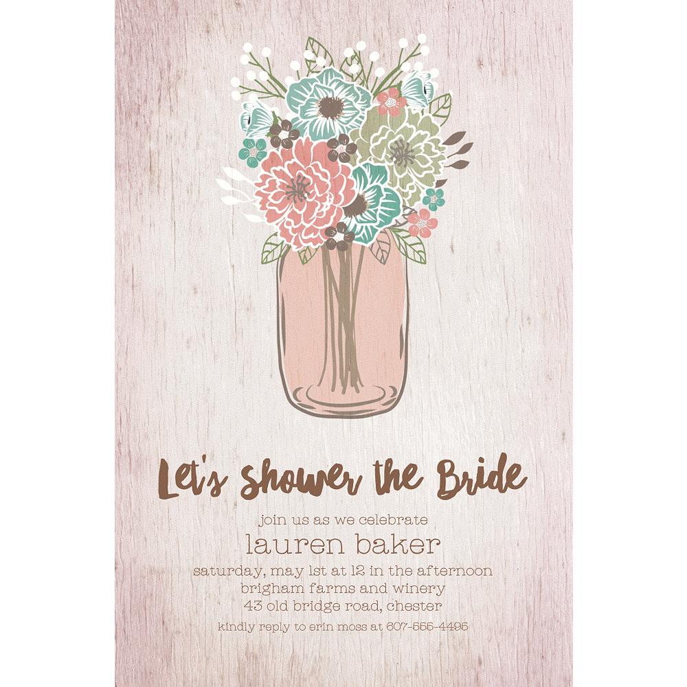 Custom Mason Jar with Flowers Invitations Image #1
