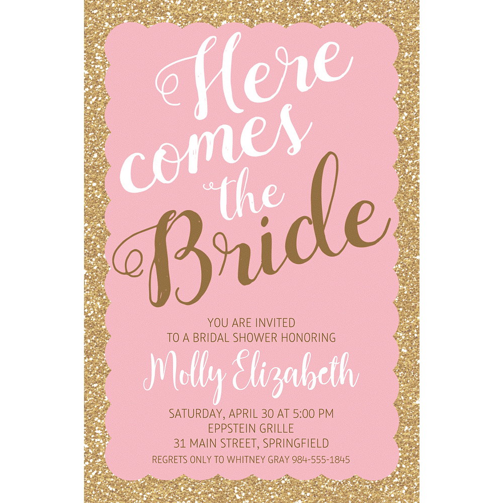 Custom Pink Here Comes the Bride Invitations Image #1