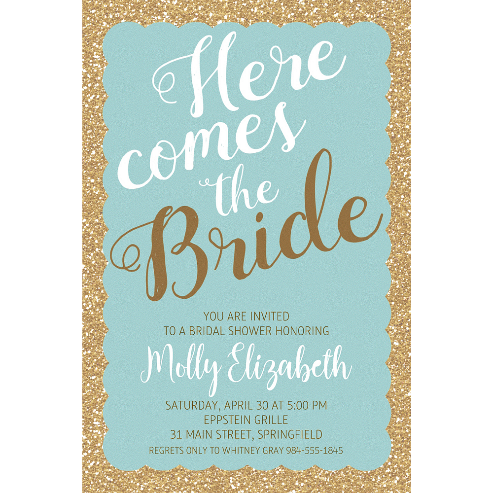 Custom Teal Here Comes the Bride Invitations Image #1
