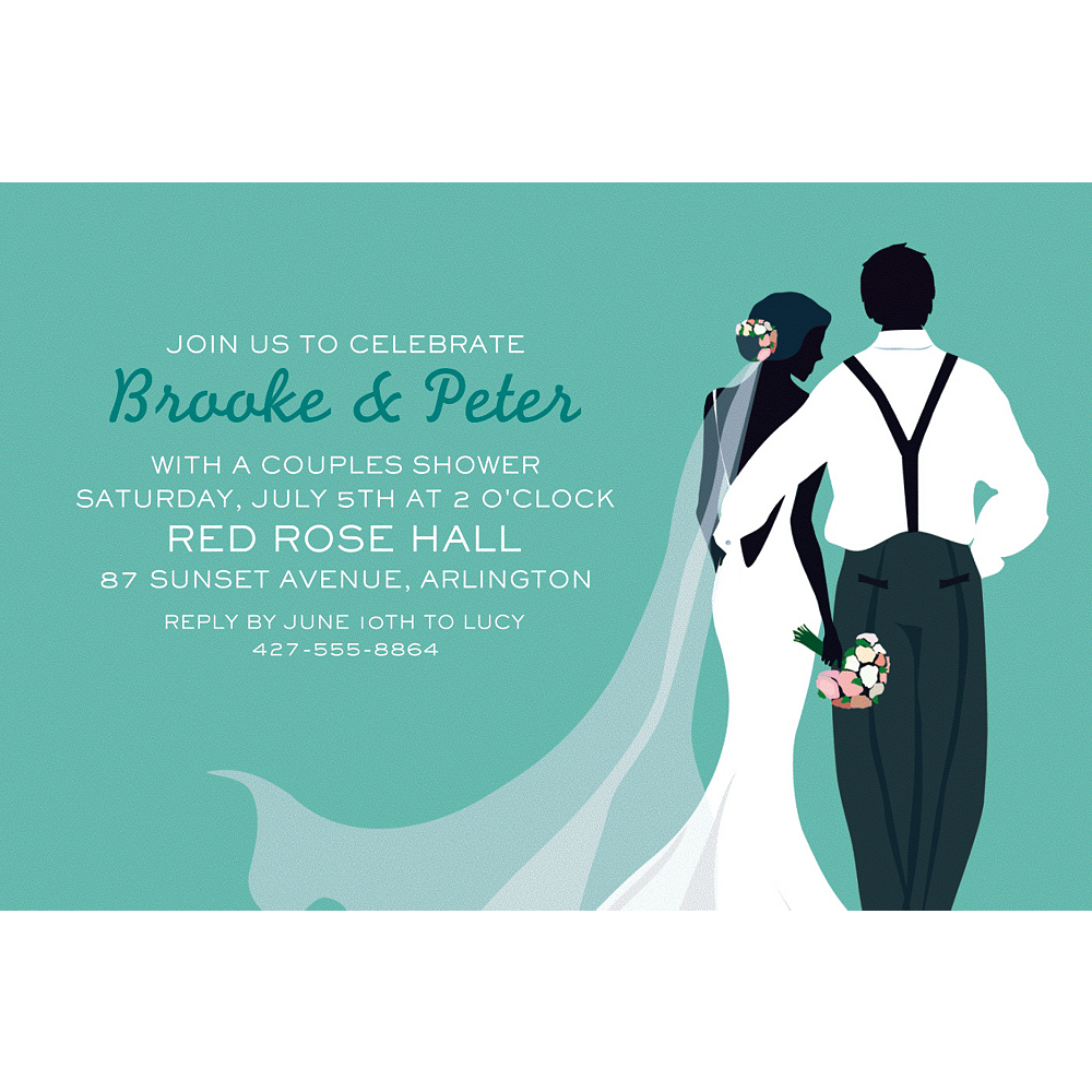 Custom Mint Wedding Couple Silhouette Invitations Party City