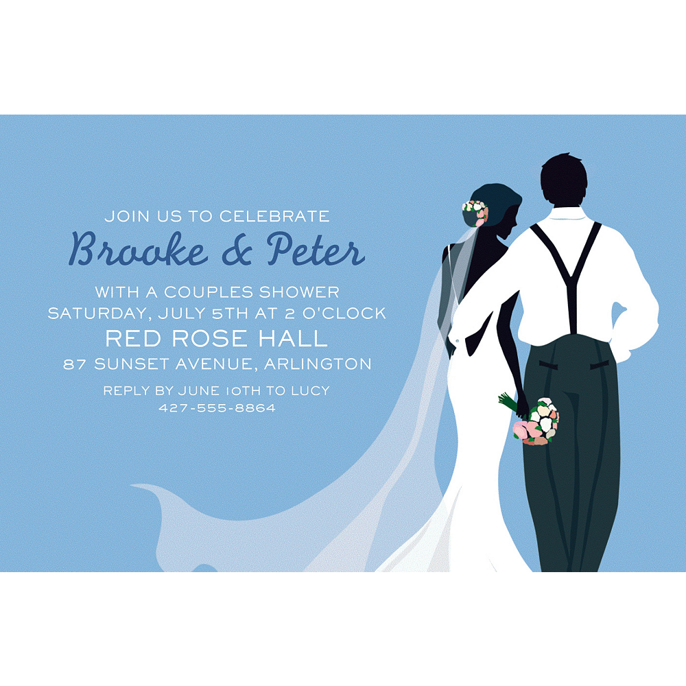 Custom Blue Wedding Couple Silhouette Invitations Image #1