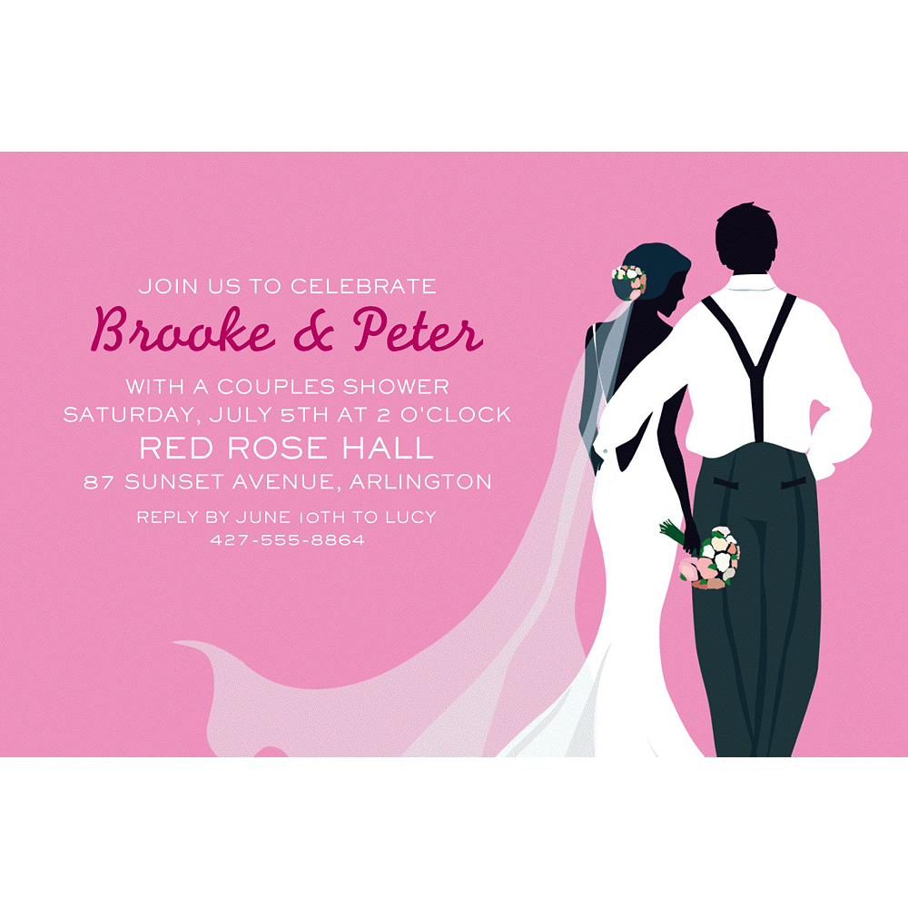 Custom Pink Wedding Couple Silhouette Invitations  Image #1