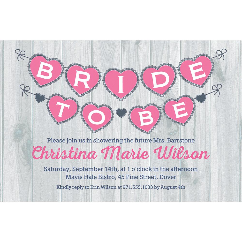 Custom Bride to Be Pennant Invitations Image #1