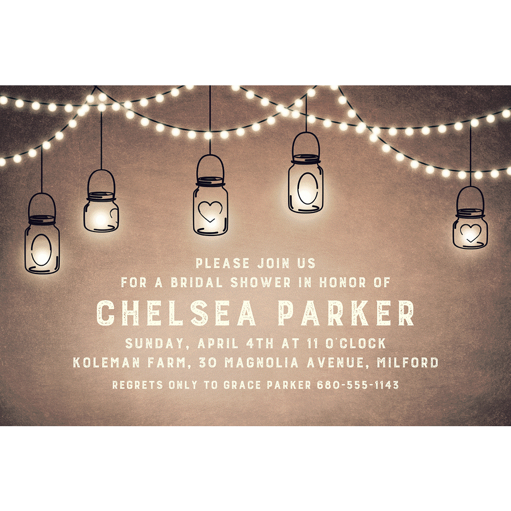 Custom Mason Jar Lanterns Invitations Image #1