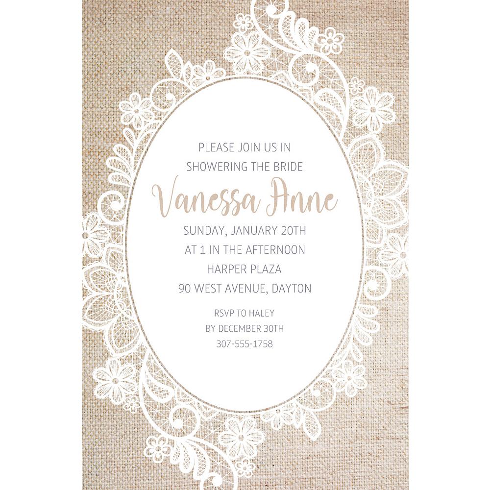 Custom Oval Lace Border Invitations Image #1