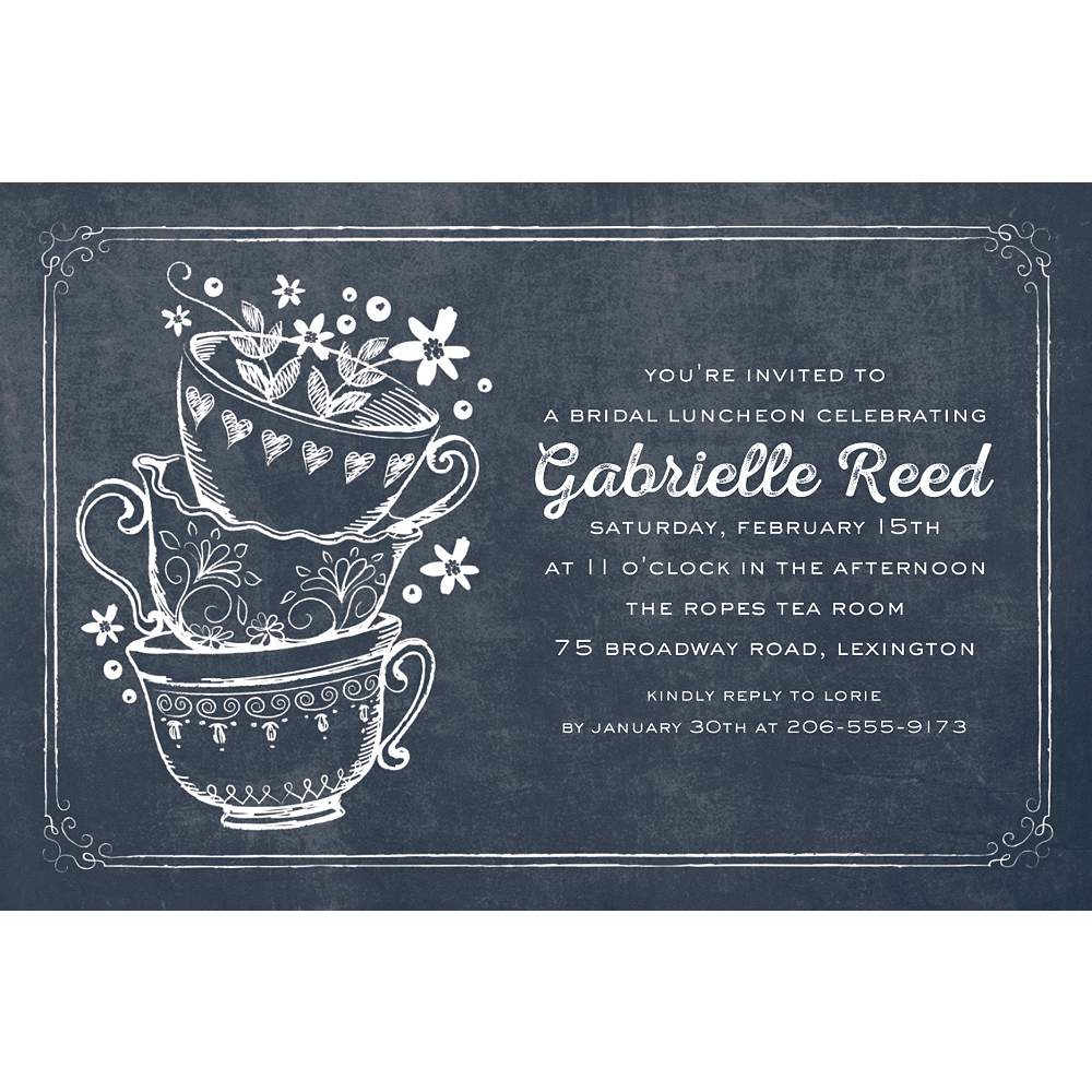 Custom Bridal Tea Party Invitations Image #1
