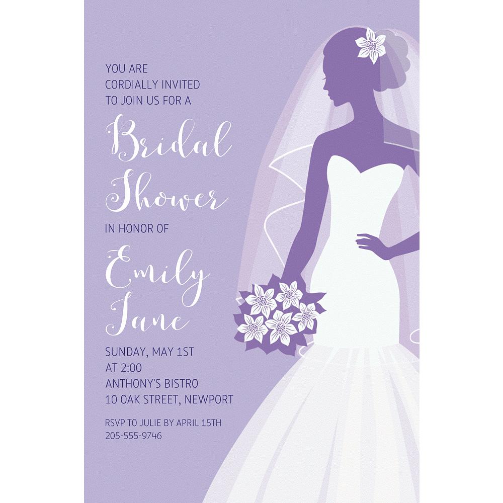 Custom Lavender Bride Silhouette Invitations Image #1