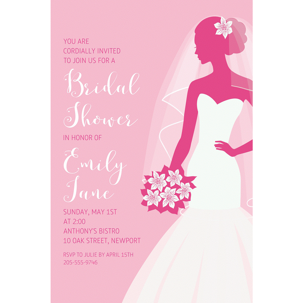 Custom Pink Bride Silhouette Invitations Image #1