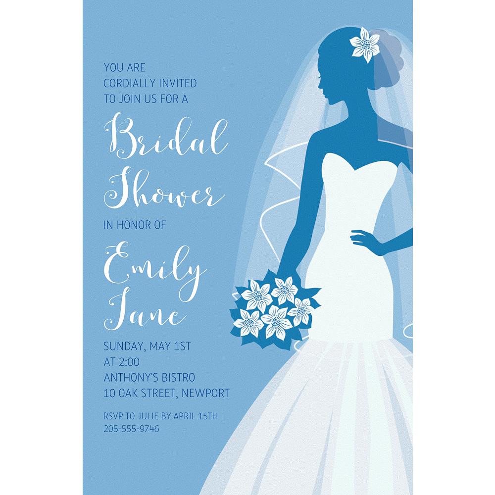 Custom Blue Bride Silhouette Invitations Image #1