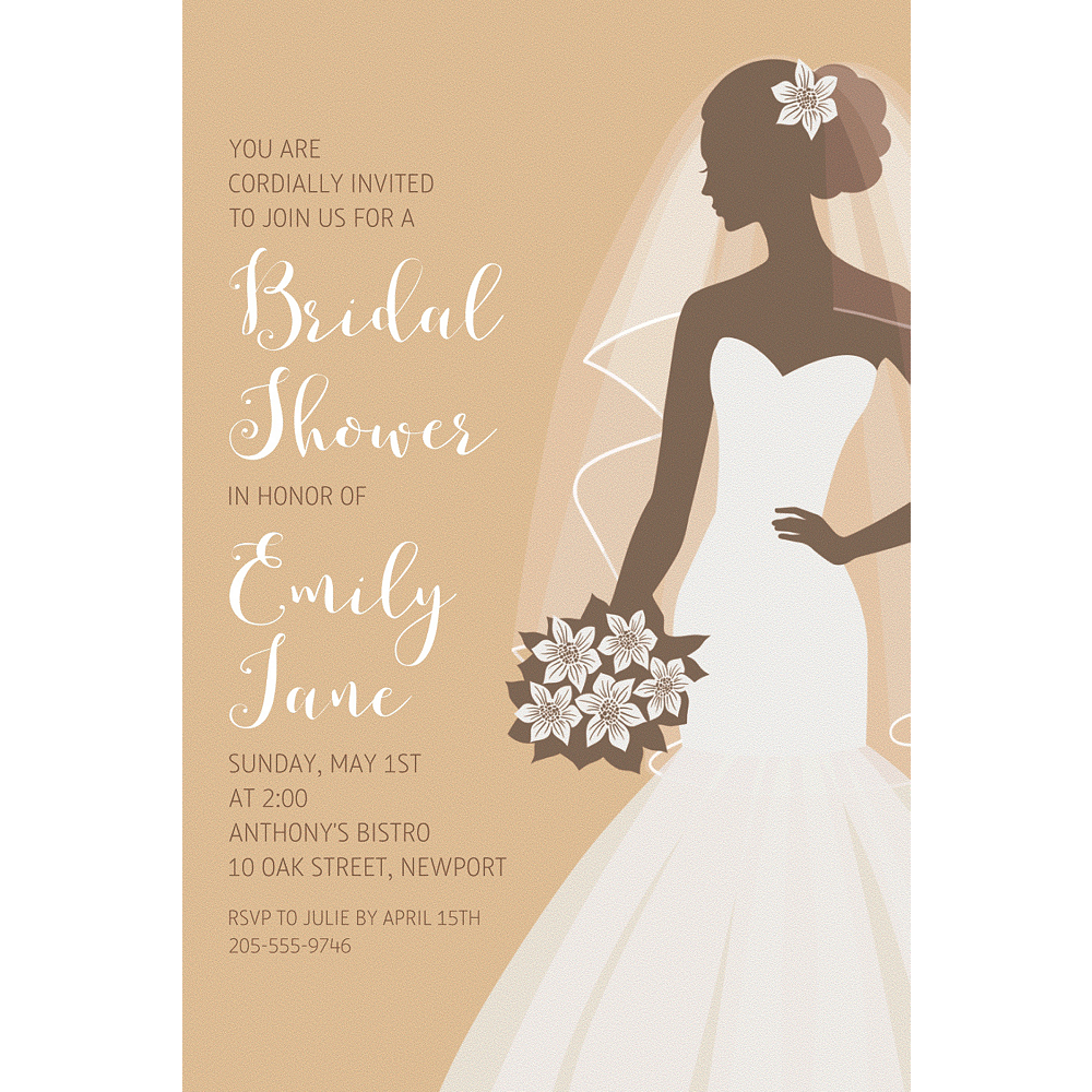 Custom Gold Bride Silhouette Invitations Image #1