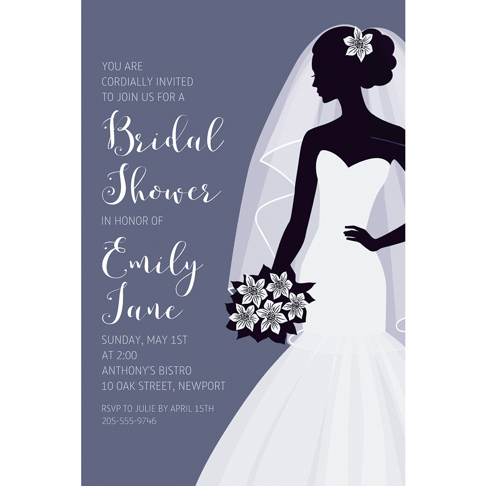 Custom Onyx Bride Silhouette Invitations Image #1