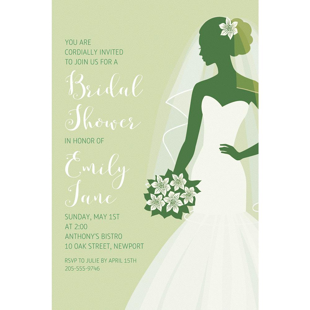 Custom Green Bride Silhouette Invitations Image #1