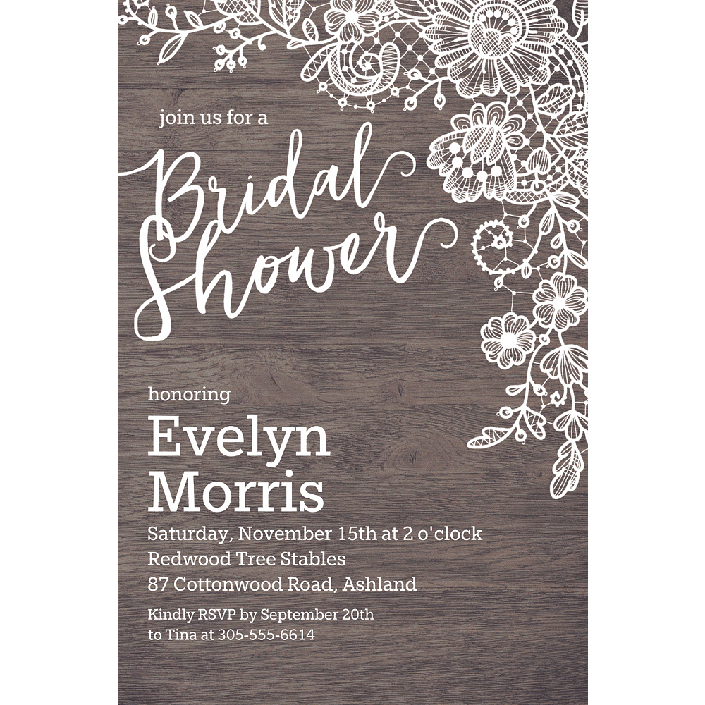 Custom Wood Lace Bridal Shower