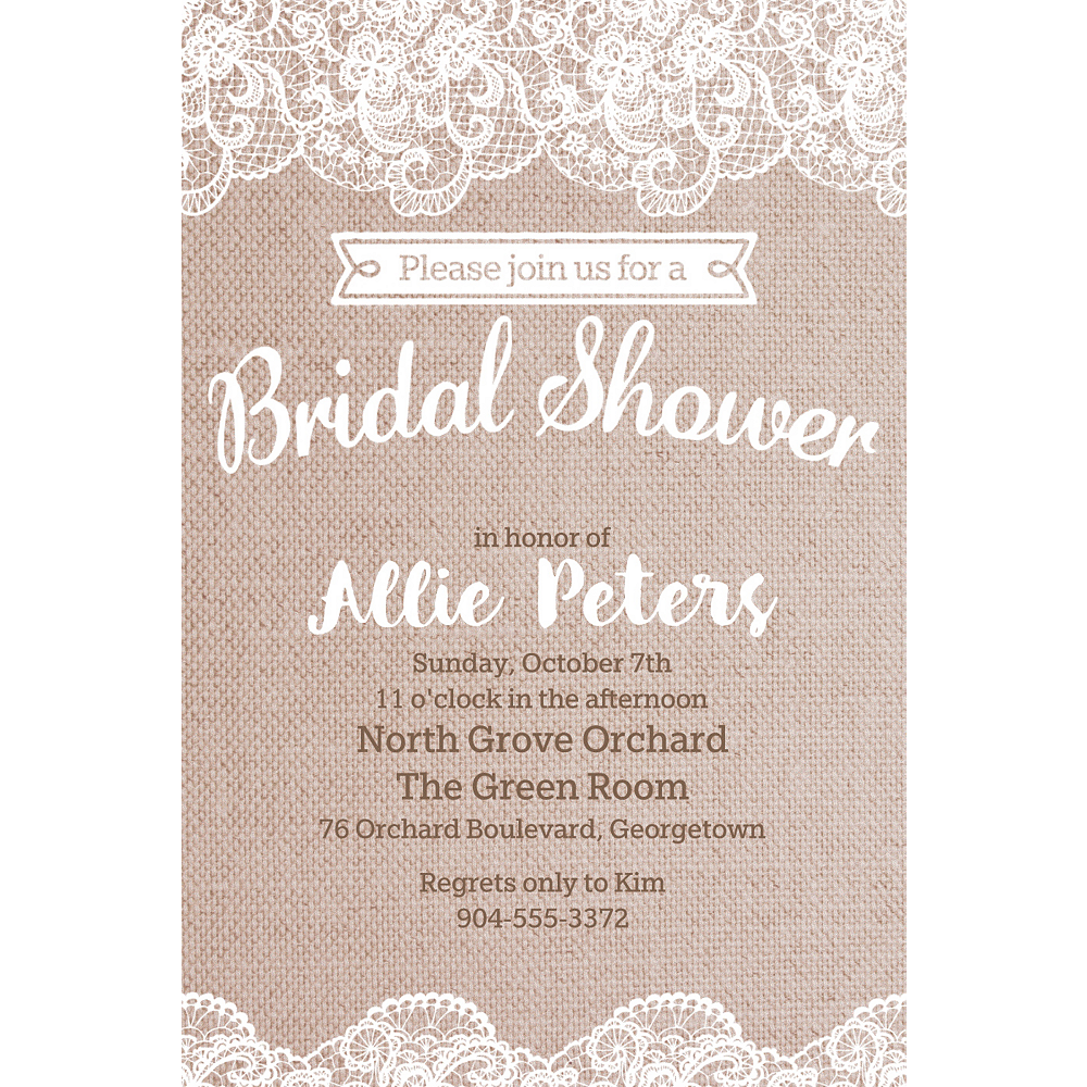 Custom Burlap & Lace Bridal Shower Invitations Image #1