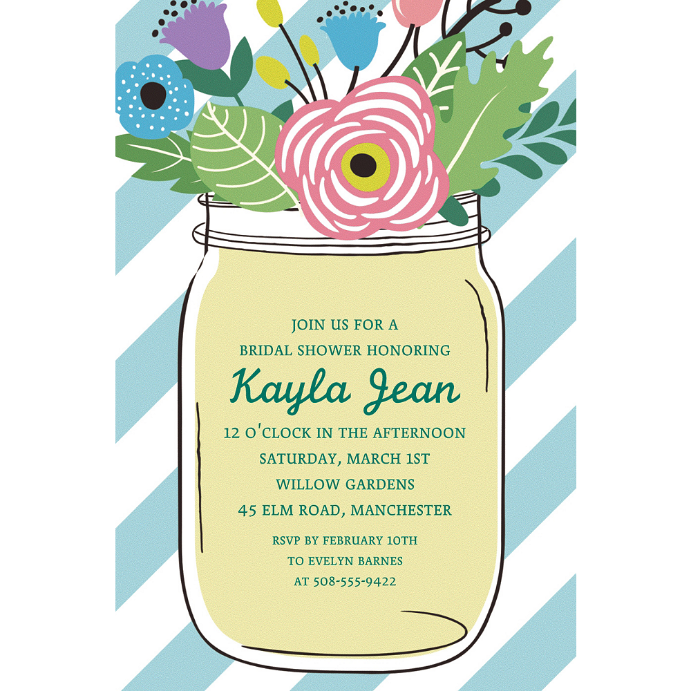 Custom Teal Floral Mason Jar Invitations Image #1