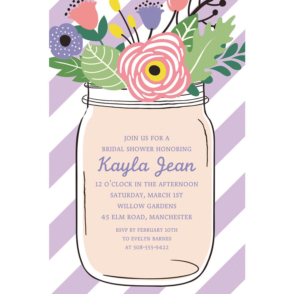 Custom Lavender Floral Mason Jar Invitations Image #1