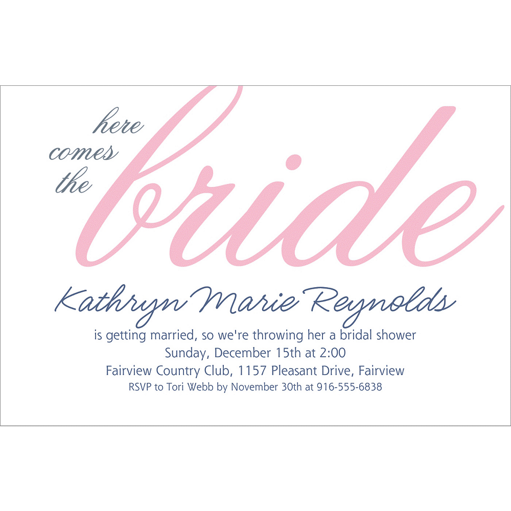 Custom Pink Here Comes the Bride Invitations | Party City