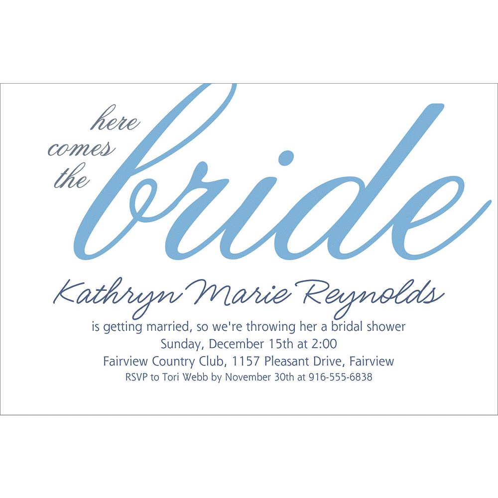 Custom Periwinkle Here Comes the Bride Invitations Image #1