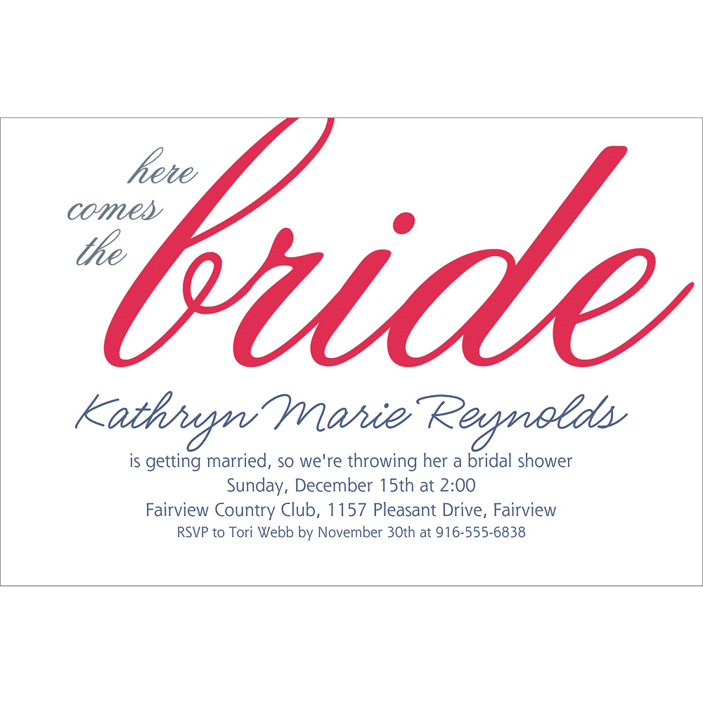 Custom Red Here Comes the Bride Invitations Image #1