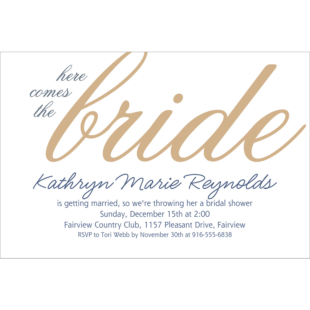 Custom Gold Here Comes the Bride Invitations Image #1