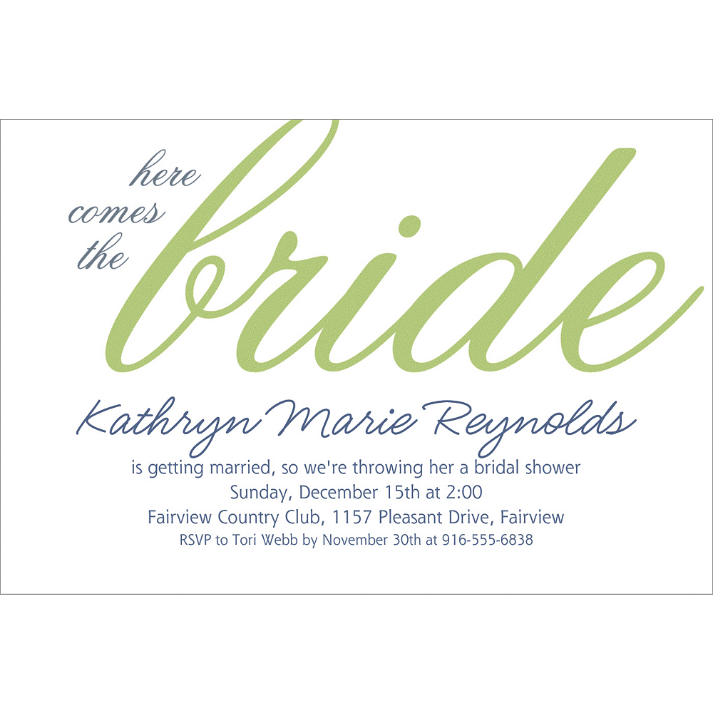 Nav Item for Custom Green Here Comes the Bride Invitations Image #1