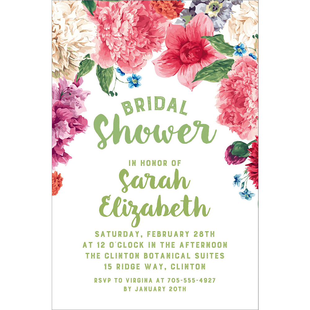 Custom Floral Border Bridal Shower Invitations | Party City