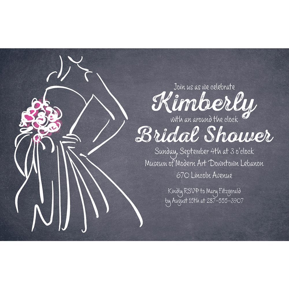 Custom Chalkboard Bride Sketch Invitations Image #1