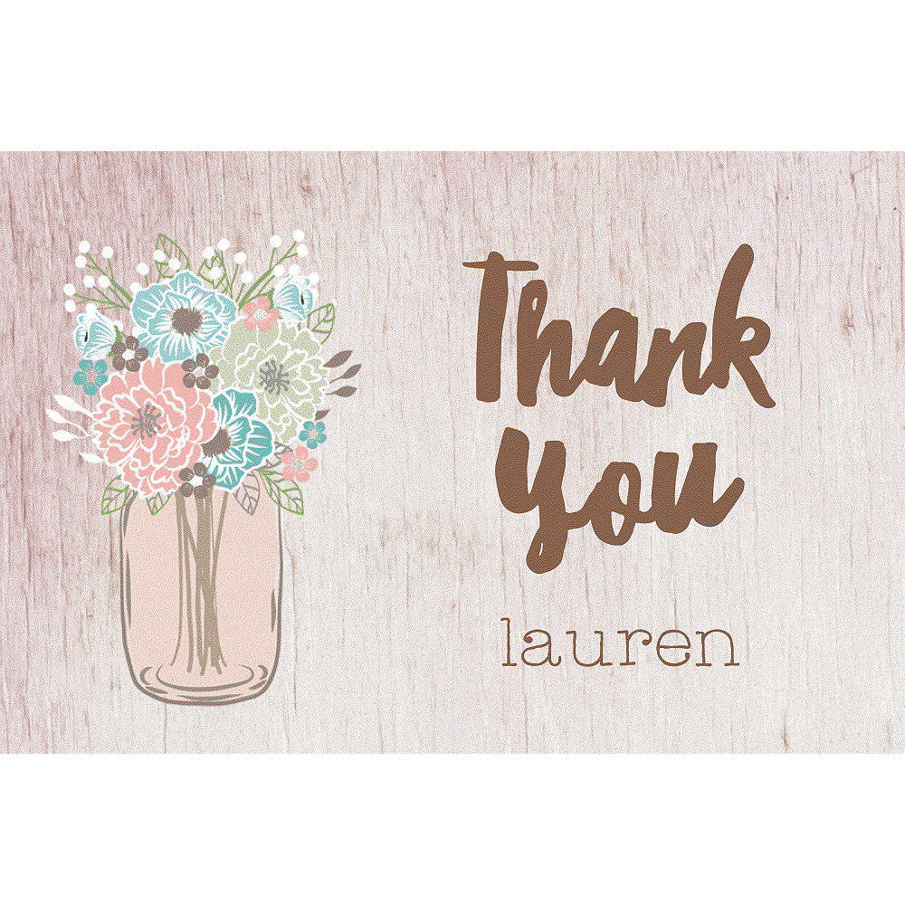 Custom Mason Jar with Flowers Thank You Notes Image #1