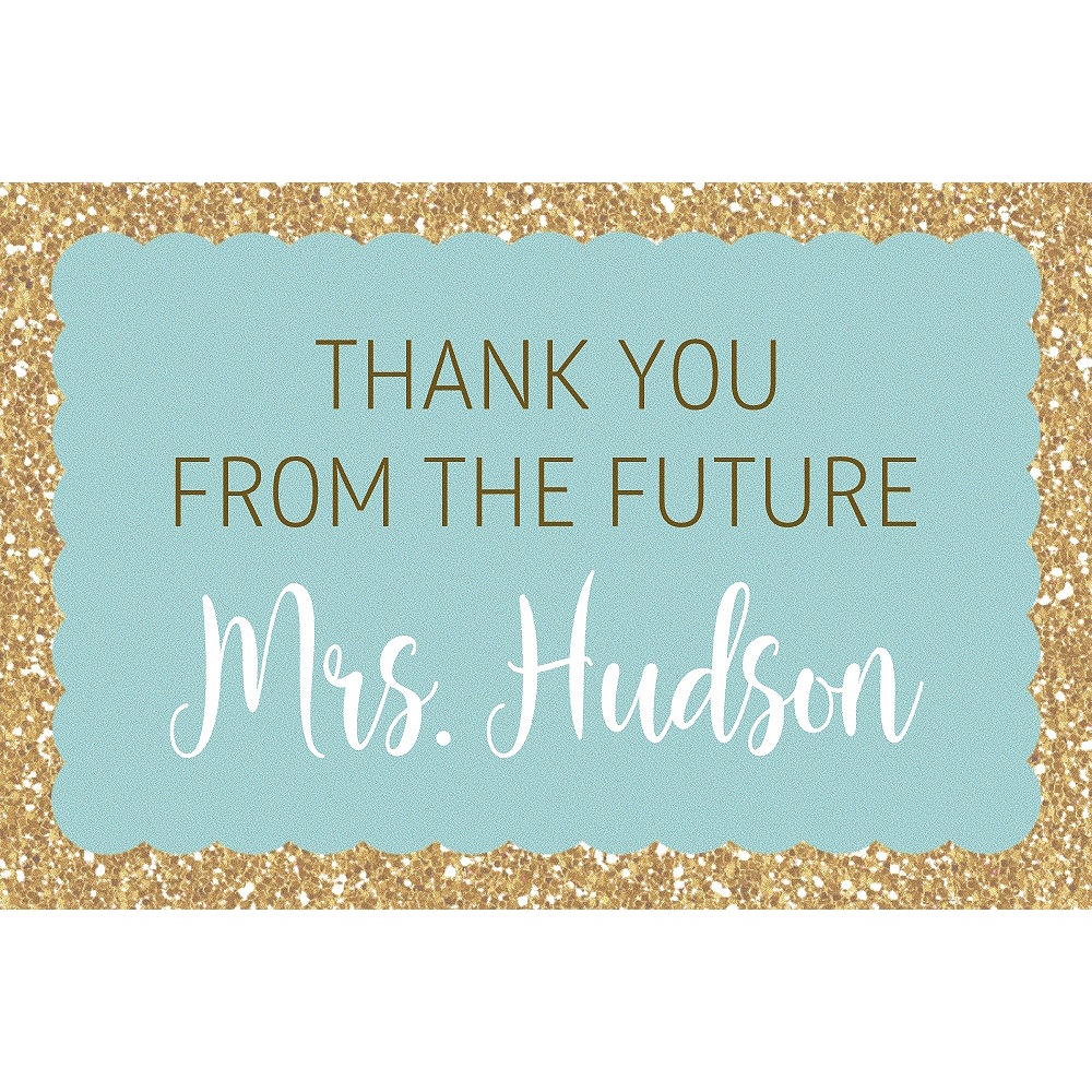 Custom Teal Here Comes the Bride Thank You Notes Image #1