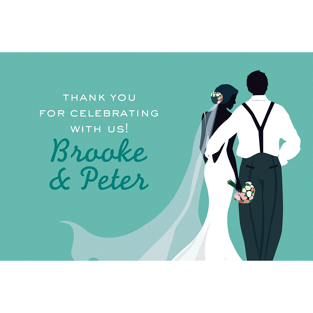 Custom Mint Wedding Couple Silhouette Thank You Notes Image #1
